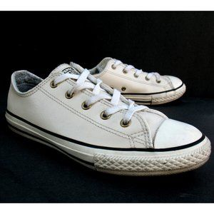 Converse Junior - CTAS OX - White Leather Sz 4